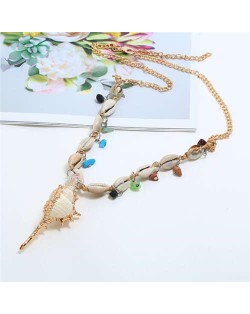 Conch Pendant Seashell Chain Design High Fashion Women Costume Necklace - White