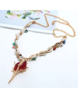 Conch Pendant Seashell Chain Design High Fashion Women Costume Necklace - Red