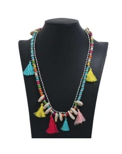 Cotton Threads Tassel and Seashell Decorated Beads Fashion Necklace - Multicolor