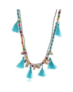 Cotton Threads Tassel and Seashell Decorated Beads Fashion Necklace - Blue