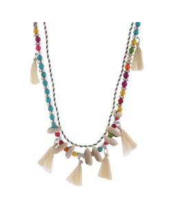 Cotton Threads Tassel and Seashell Decorated Beads Fashion Necklace - White