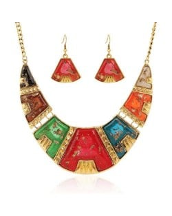 Colorful Resin Gems Embellished Arch Pendant High Fashion Bib Necklace and Earrings Set