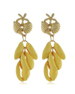 Natural Seashell Tassel Design High Fashion Women Statement Earrings - Yellow