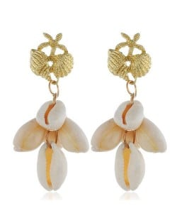 Natural Seashell Tassel Design High Fashion Women Statement Earrings - White