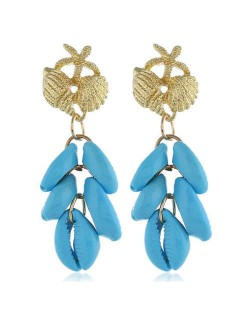 Natural Seashell Tassel Design High Fashion Women Statement Earrings - Sky Blue