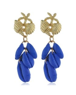 Natural Seashell Tassel Design High Fashion Women Statement Earrings - Royal Blue