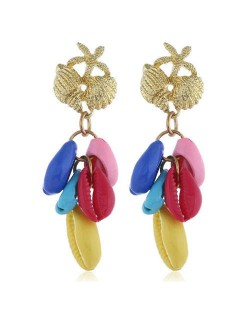Natural Seashell Tassel Design High Fashion Women Statement Earrings - Multicolor