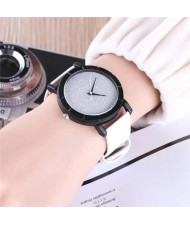 5 Colors Available Starry Sky Index Design Leather Wrist Fashion Watch