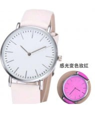3 Colors Available Photochromic Leather Wrist Fashion Watch