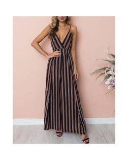 Sleeveless Strips Pattern High Fashion Women Jumpsuit - Dark Blue