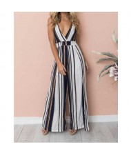 Sleeveless Strips Pattern High Fashion Women Jumpsuit - White and Dark Blue