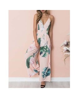 Leaves and Flower Printing Sleeveless High Fashion Women Jumpsuit - Pink