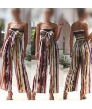 Multicolor Strips Sleeveless High Fashion Women Jumpsuit