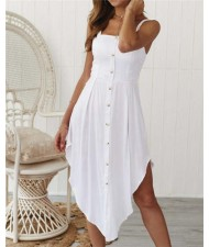 Buttons Decorated Shoulder-straps Solid Color High Fashion Women Dress - White