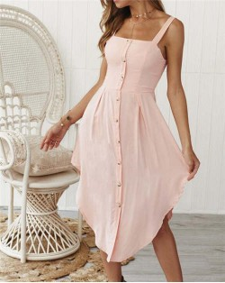 Buttons Decorated Shoulder-straps Solid Color High Fashion Women Dress - Pink