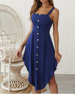 Buttons Decorated Shoulder-straps Solid Color High Fashion Women Dress - Dark Blue