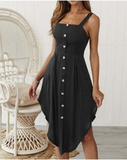 Buttons Decorated Shoulder-straps Solid Color High Fashion Women Dress - Black