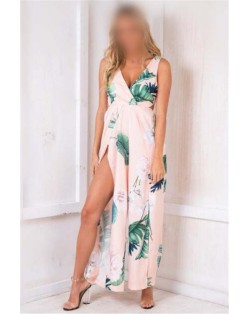 Flower Printing Summer Fashion Sleeveless Women Jumpsuit - Pink