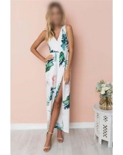 Flower Printing Summer Fashion Sleeveless Women Jumpsuit - White