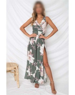 Flower Printing Summer Fashion Sleeveless Women Jumpsuit - Green