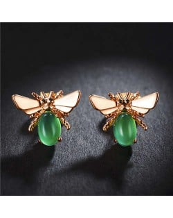 Green Gem Embellished Bee Design Women Rose Gold Earrings