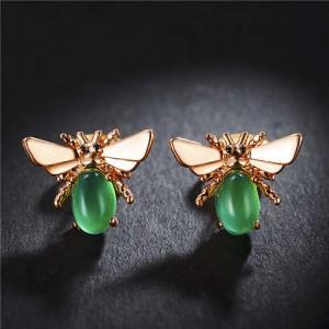 Green Gem Embellished Bee Design Women Rose Gold Earrings