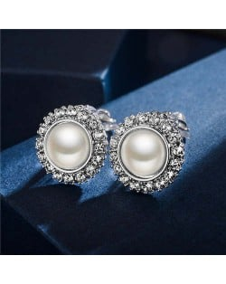 Rhinestone Emebllished Round Pearl Platinum Plated Earrings