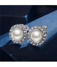 Rhinestone Emebllished Round Pearl Platinum Plated Earrings