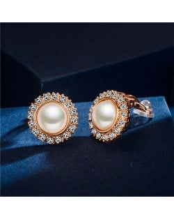 Rhinestone Emebllished Round Pearl Rose Gold Earrings