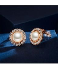 Rhinestone Emebllished Round Pearl Rose Gold Earrings