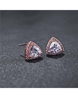 Graceful Shining Cubic Zirconia Triangle Shape Rose Gold Earrings - White