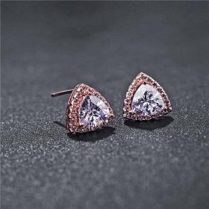 Graceful Shining Cubic Zirconia Triangle Shape Rose Gold Earrings - White