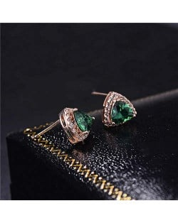 Graceful Shining Cubic Zirconia Triangle Shape Rose Gold Earrings - Green