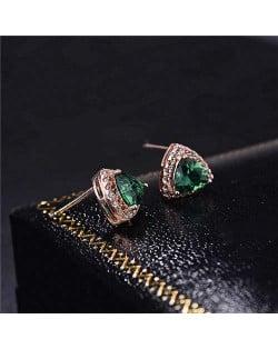 Graceful Shining Cubic Zirconia Triangle Shape Rose Gold Earrings - Green