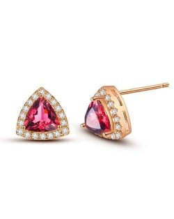 Graceful Shining Cubic Zirconia Triangle Shape Rose Gold Earrings - Red