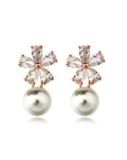 Cubic Zirconia Snow Flake Flower Pearl Fashion Rose Gold Earrings