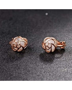 Opal Inlaid Hollow Flower Design Rose Gold Earrings - White