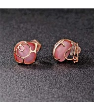 Opal Inlaid Hollow Flower Design Rose Gold Earrings - Pink