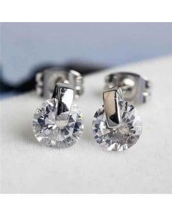 Glistening Cubic Zirconia Platinum Plated Women Earrings