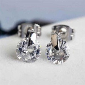 Glistening Cubic Zirconia Platinum Plated Women Earrings