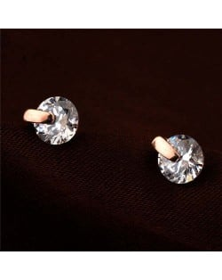 Glistening Cubic Zirconia Rose Gold Women Earrings