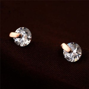 Glistening Cubic Zirconia Rose Gold Women Earrings