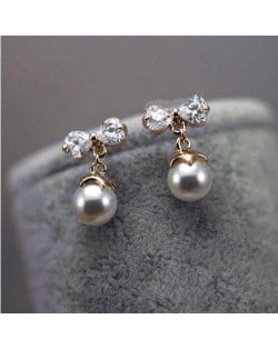 Cubic Zirconia with Dangling Pearl Design Rose Gold Women Earrings