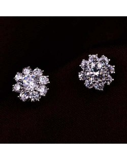 Shining Cubic Zirconia Snowflake Pattern Flower Platinum Plated Women Earrings