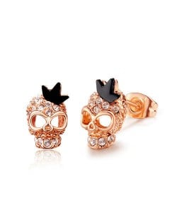 Austrian Crystal Embellished Skull Design Rose Gold Earrings