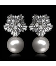 Cubic Zirconia Luxurious Floral Design with Dangling Pearl Platinum Plated Earrings