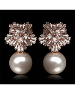 Cubic Zirconia Luxurious Floral Design with Dangling Pearl Rose Gold Earrings