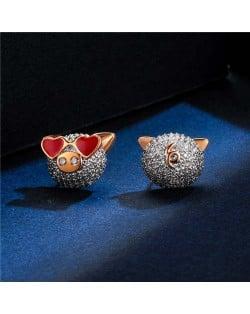 Cubic Zirconia Pig Design Platinum Plated Women Earrings