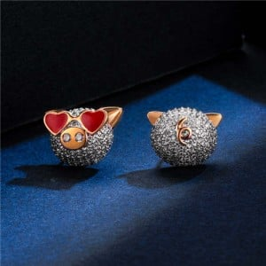 Cubic Zirconia Pig Design Platinum Plated Women Earrings
