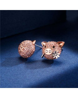 Cubic Zirconia Pig Design 18k Rose Gold Plated Women Earrings